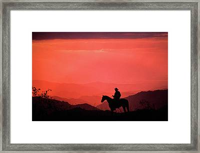 1980s Silhouette Of Anonymous Cowboy Framed Print