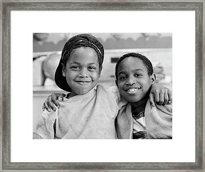 1980s Two African American Boys Smiling Framed Print
