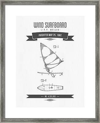 1982 Wind Surfboard Patent Drawing - Retro Gray Framed Print by Aged Pixel
