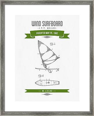 1982 Wind Surfboard Patent Drawing - Retro Green Framed Print by Aged Pixel