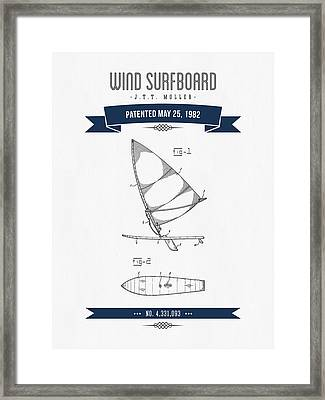 1982 Wind Surfboard Patent Drawing - Retro Navy Blue Framed Print by Aged Pixel