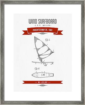 1982 Wind Surfboard Patent Drawing - Retro Red Framed Print by Aged Pixel