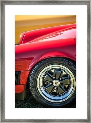 1984 Porsche 911 Carrera Wheel Emblem -2270bw Framed Print
