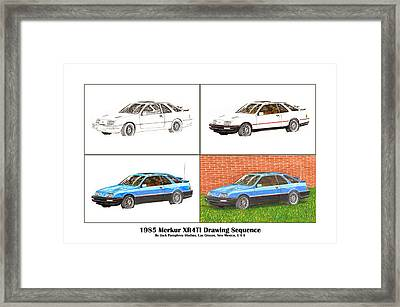 1985 Merkur Xr4ti Drawing Sequence Framed Print by Jack Pumphrey