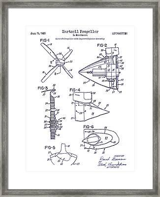 1985 Propeller Patent Blueprint Framed Print by Jon Neidert