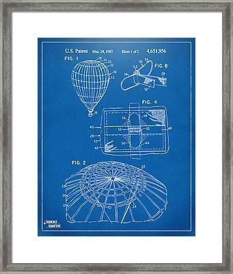 1987 Hot Air Balloon Patent Artwork - Blueprint Framed Print