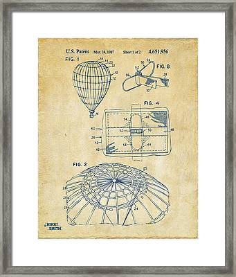 1987 Hot Air Balloon Patent Artwork - Vintage Framed Print