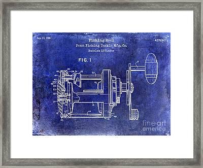 1988 Penn Fishing Reel Patent Drawing Blue Framed Print by Jon Neidert