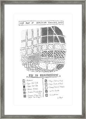 1989 Map Of Sorghum Corners Framed Print