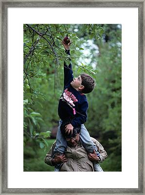 1990 1990s Son Shouldres Father Reach Framed Print