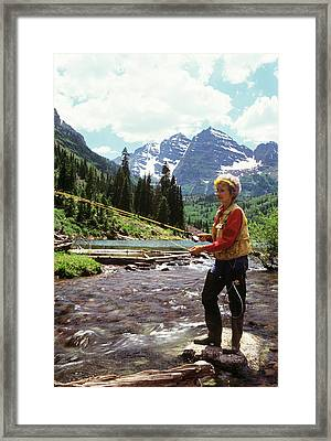 1990s Mature Woman Fly Fishing Framed Print
