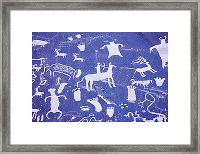 1990s Pictographs On Newspaper Rock Framed Print