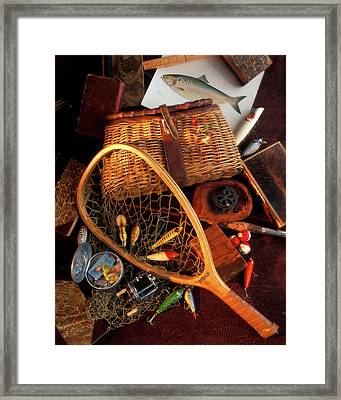 1990s Still Life With Fishing Gear Framed Print