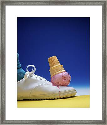 1990s Strawberry Ice Cream Cone Dropped Framed Print