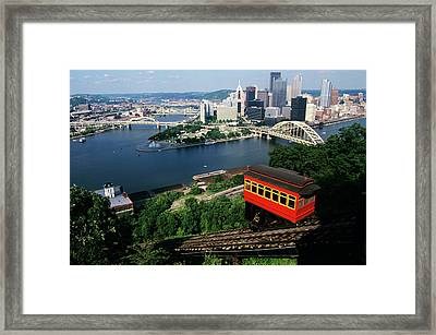 1990s View Of Skyline Pittsburgh Pa Usa Framed Print