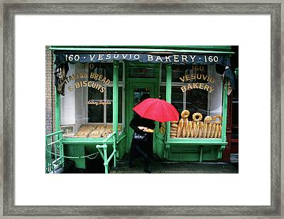 1990s Woman With Red Umbrella Leaving Framed Print