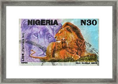 1993 Nigerian Lion Stamp Framed Print