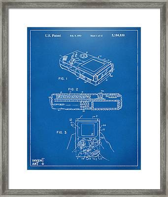 1993 Nintendo Game Boy Patent Artwork Blueprint Framed Print by Nikki Marie Smith