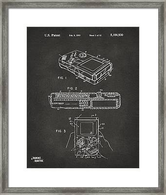 1993 Nintendo Game Boy Patent Artwork - Gray Framed Print by Nikki Marie Smith