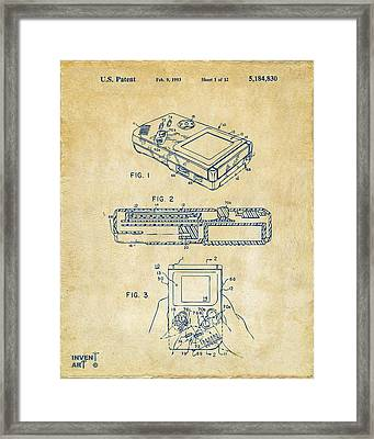 1993 Nintendo Game Boy Patent Artwork Vintage Framed Print by Nikki Marie Smith