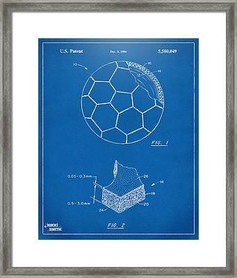 1996 Soccerball Patent Artwork - Blueprint Framed Print by Nikki Marie Smith