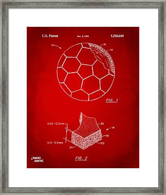 1996 Soccerball Patent Artwork - Red Framed Print by Nikki Marie Smith
