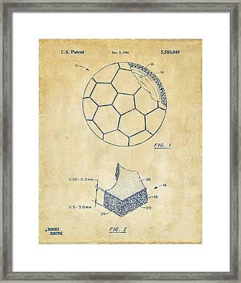 1996 Soccerball Patent Artwork - Vintage Framed Print by Nikki Marie Smith