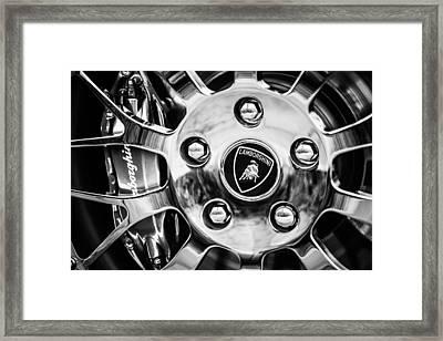 Framed Print featuring the photograph 1997 Lamborghini Diablo Roadster  Wheel Emblem -1303bw by Jill Reger