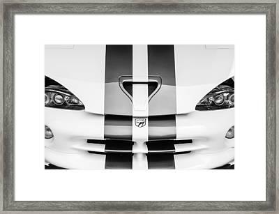1998 Dodge Viper Gts-r Grille Emblem -0329bw Framed Print
