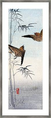 19th C. Japanese Sparrows Framed Print by Historic Image