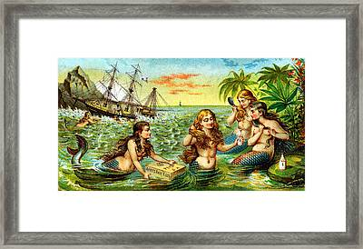 19th C. Mermaids At Ship Wreck Framed Print
