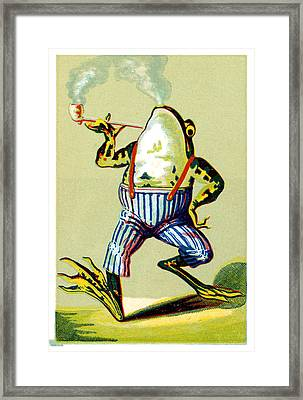 19th C. Pipe Smoking Frog Framed Print by Historic Image