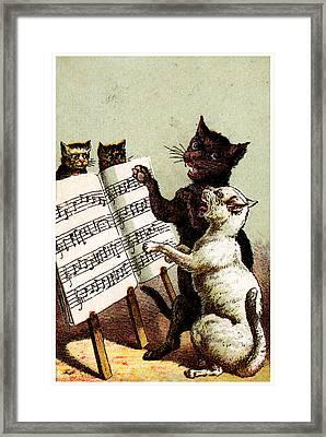 19th C. Quartet Of Singing Cats Framed Print