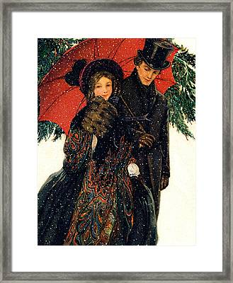 19th C. Young Couple In Winter Framed Print