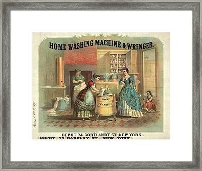 19th Century Advert For A Washing Machine Framed Print by Library Of Congress