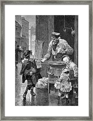 19th Century Chestnut Vendor Framed Print by Bildagentur-online/tschanz