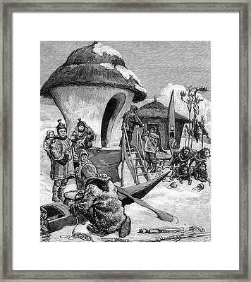 19th Century Eskimo Village Framed Print by Collection Abecasis