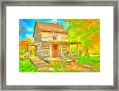 19th Century Log Cabin  Framed Print by L Wright