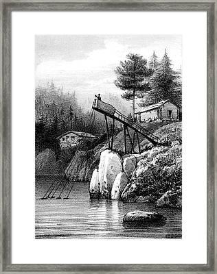 19th Century Salmon Fisher Framed Print