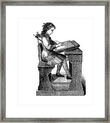19th Century School Desk Back Support Framed Print by Bildagentur-online/tschanz