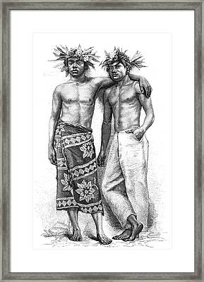 19th Century Tahitian People Framed Print by Collection Abecasis