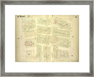 1st Ward. Plate F Map Bounded By Liberty Street, William Framed Print by Litz Collection