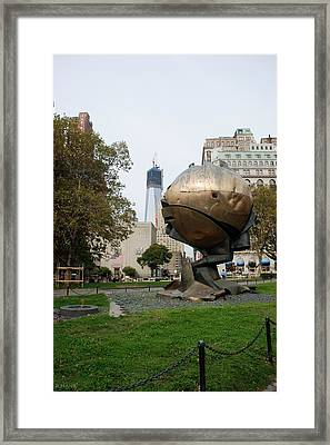 1w T C And The W T C Fountain Sphere Framed Print by Rob Hans