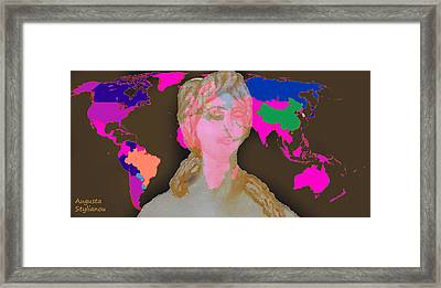 Aphrodite And World Map  Framed Print by Augusta Stylianou