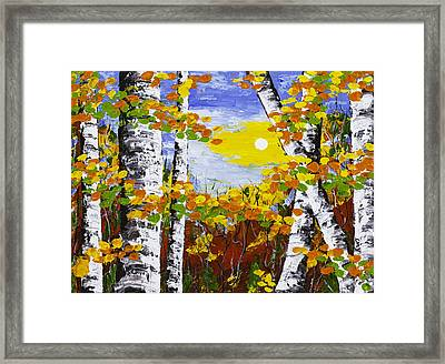 White Birch Trees In Fall Abstract Painting Framed Print by Keith Webber Jr