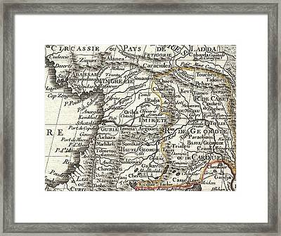 1724 De Lisle Map Of Persia Iran Iraq Afghanistan Framed Print by Paul Fearn
