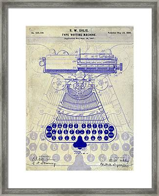 1899 Type Writer Patent Drawing Framed Print