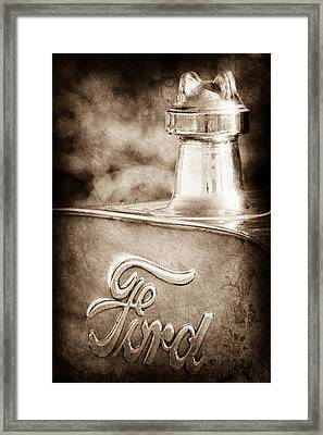 1911 Ford Model T Torpedo 4 Cylinder 25 Hp Hood Ornament - Emblem Framed Print
