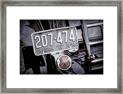 1932 Ford Model 18 Roadster Hotrod Taillight Framed Print by Jill Reger