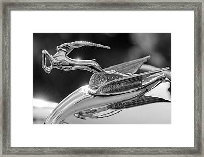 1933 Chrysler Imperial Hood Ornament -0484bw Framed Print